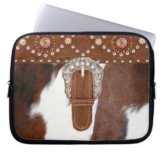 """""""Cowhide"""" Western Laptop Sleeve"""