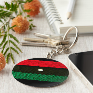 Cowrie Shell Red Black and Green Crochet Print on Keychain