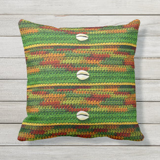 Cowrie Shells on Autumn Outdoors Colors Crochet Throw Pillow