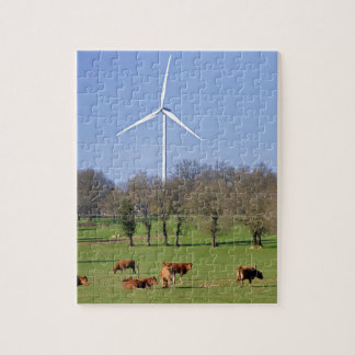 Cows and wind turbine in the meadow jigsaw puzzle