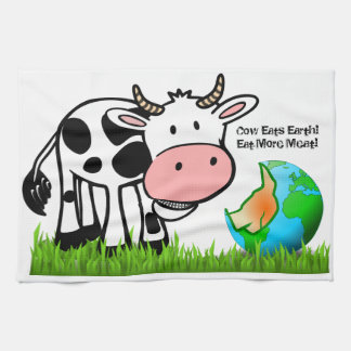 Cows are destroying the earth! Eat More Meat! Kitchen Towel