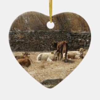 Cows Ceramic Heart Ornament