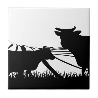 Cows field concept tile