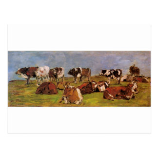 Cows in a Field by Eugene Boudin Postcard