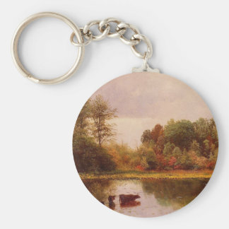 Cows in a Watering Landscape by Albert B. Basic Round Button Keychain
