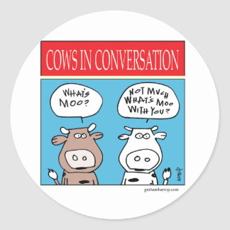 Cows in Conversation Round Sticker