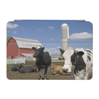 Cows in front of a red barn and silo on a farm 2 iPad mini cover