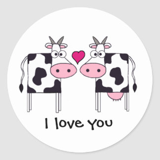 Cows in Love Classic Round Sticker