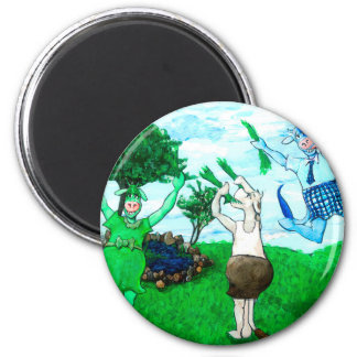 Cows in Skirts and Dresses 2 Inch Round Magnet