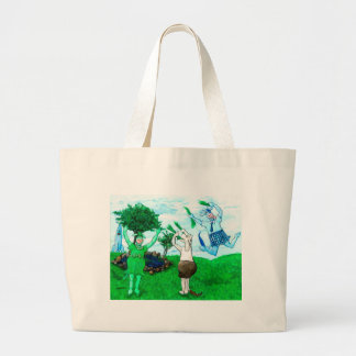 Cows in Skirts and Dresses Large Tote Bag