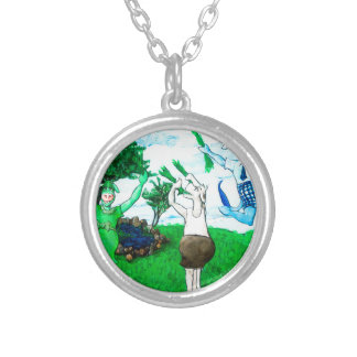 Cows in Skirts and Dresses Silver Plated Necklace