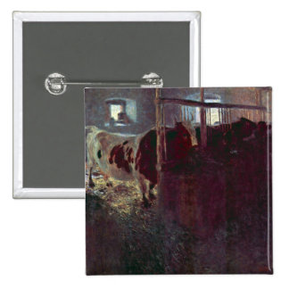Cows in Stall by Gustav Klimt Buttons