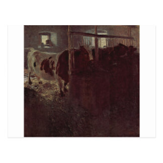 Cows in the barn by Gustav Klimt Postcard
