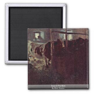 Cows In The Barn By Klimt Gustav Refrigerator Magnet