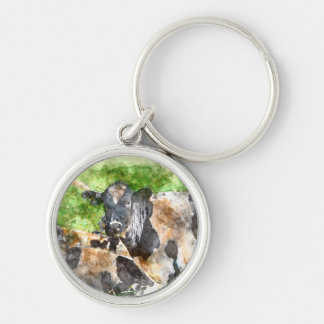 Cows in the Field Silver-Colored Round Keychain