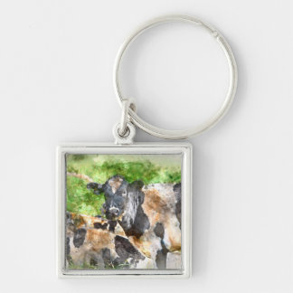 Cows in the Field Silver-Colored Square Keychain