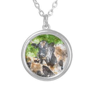 Cows in the Field Silver Plated Necklace