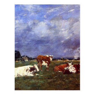 Cows in the Pasture by Eugene Boudin Postcard