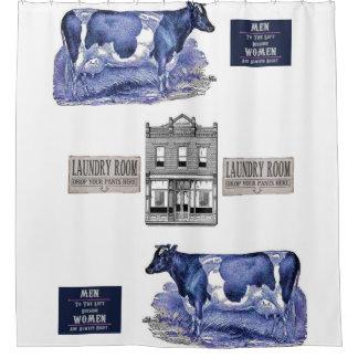 Cows laundry white showercurtain