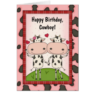 Cows Love Birthday Guys Greeting Cards