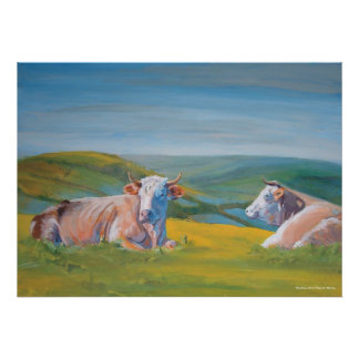 Cows lying down & Landscape Valley painting Poster