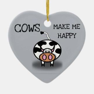 Cows make me happy ceramic ornament