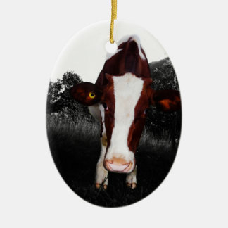 Cows - NOT Always Black and White Ceramic Oval Ornament