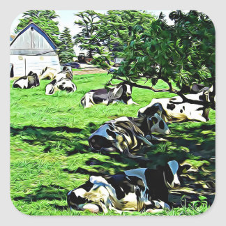 Cows on a Farm resting on a Pasture Stickers