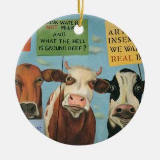 Cows On Strike Ceramic Ornament