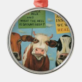 Cows On Strike Metal Ornament