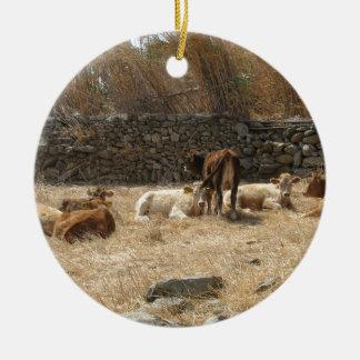 Cows Round Ceramic Ornament