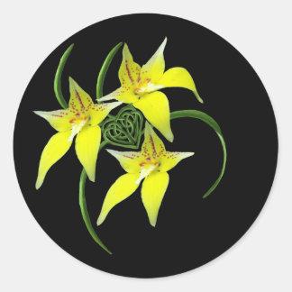 Cowslip Orchid Love Celtic Knotwork Heart Sticker