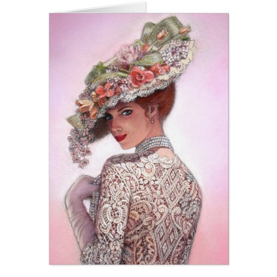 "Coy Victorian Lady ""Betty Lu"" Card"