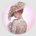 "Coy Victorian Lady ""Betty Lu"" Classic Round Sticker"