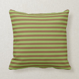 Coyote Brown Moss Green Abstract Stripes Pillow
