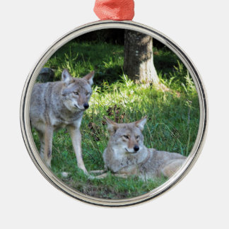 Coyote Collection Silver-Colored Round Ornament