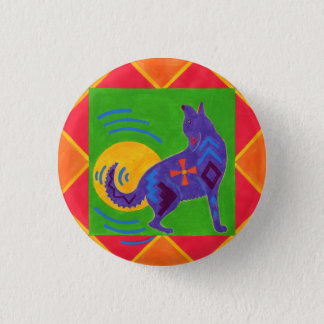 Coyote Drummer 1 Inch Round Button