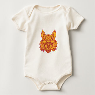 Coyote Head Sunglasses Smiling Mono Line Baby Bodysuit