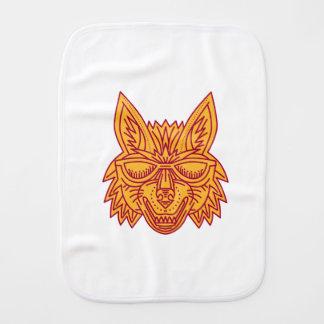 Coyote Head Sunglasses Smiling Mono Line Baby Burp Cloth