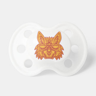 Coyote Head Sunglasses Smiling Mono Line Baby Pacifier