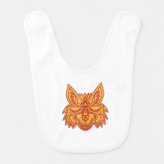 Coyote Head Sunglasses Smiling Mono Line Bib