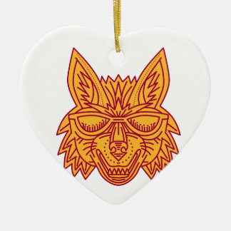 Coyote Head Sunglasses Smiling Mono Line Ceramic Heart Ornament
