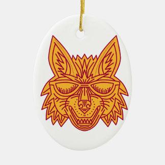 Coyote Head Sunglasses Smiling Mono Line Ceramic Oval Ornament