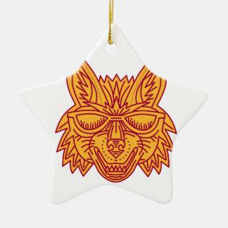 Coyote Head Sunglasses Smiling Mono Line Ceramic Star Ornament