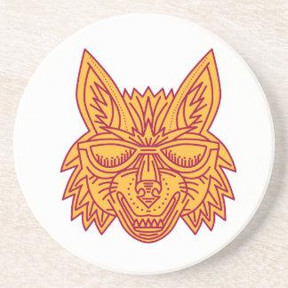 Coyote Head Sunglasses Smiling Mono Line Coasters