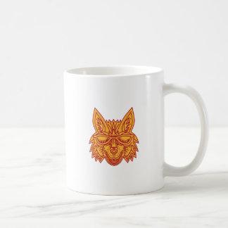 Coyote Head Sunglasses Smiling Mono Line Coffee Mug