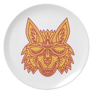 Coyote Head Sunglasses Smiling Mono Line Plate