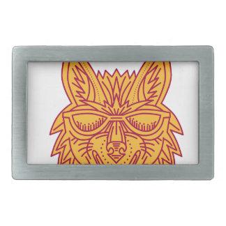 Coyote Head Sunglasses Smiling Mono Line Rectangular Belt Buckles