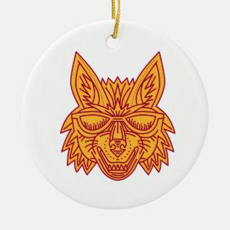 Coyote Head Sunglasses Smiling Mono Line Round Ceramic Ornament