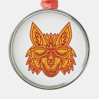Coyote Head Sunglasses Smiling Mono Line Silver-Colored Round Ornament
